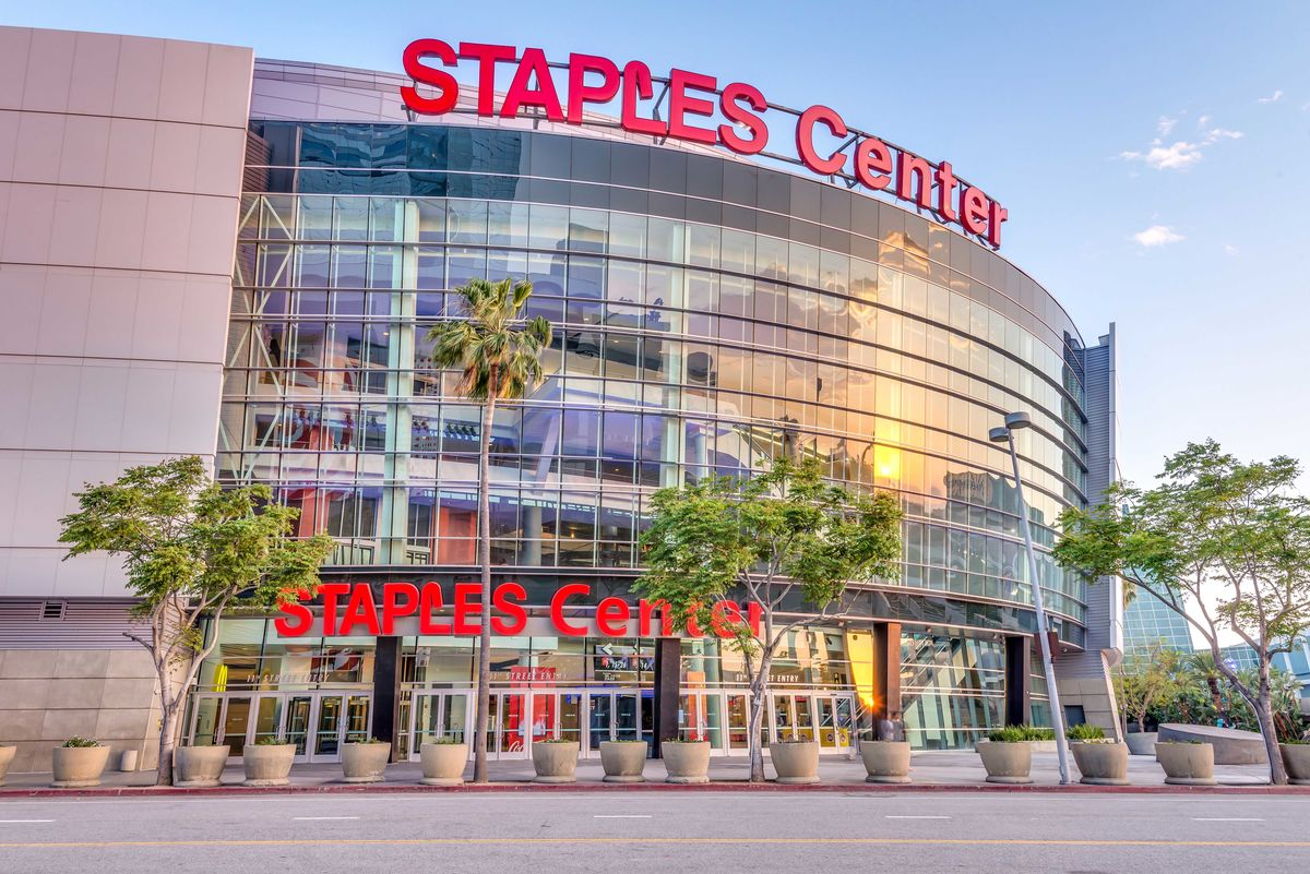 street view of the Staples Center located in downtown Los Angeles