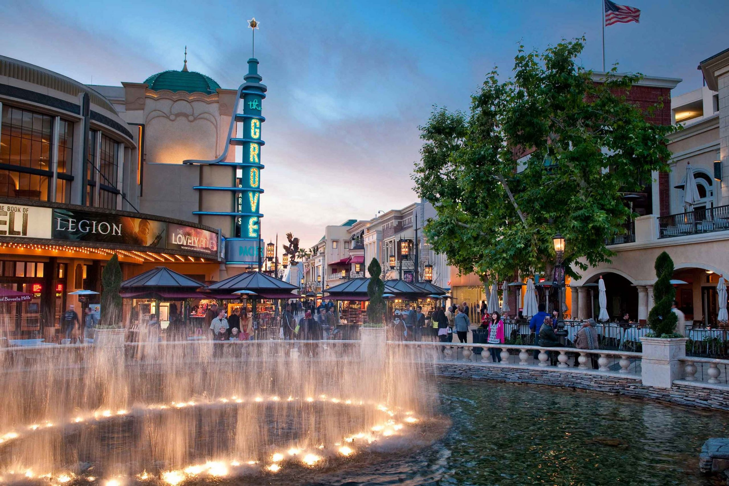 The Grove Hero shopping center located in downtown Los Angeles with water fountain