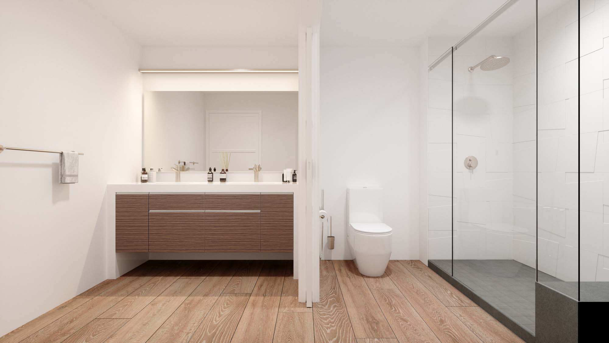 bathroom area with wood-style flooring, dual sink, stand up shower, and single mirror