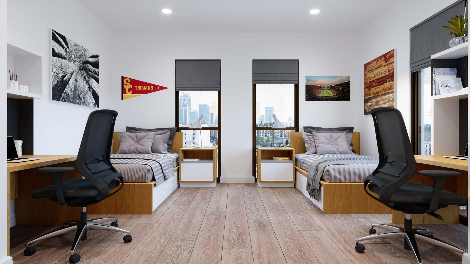 bedroom area with two beds, computers and desks, wood-style flooring, and windows