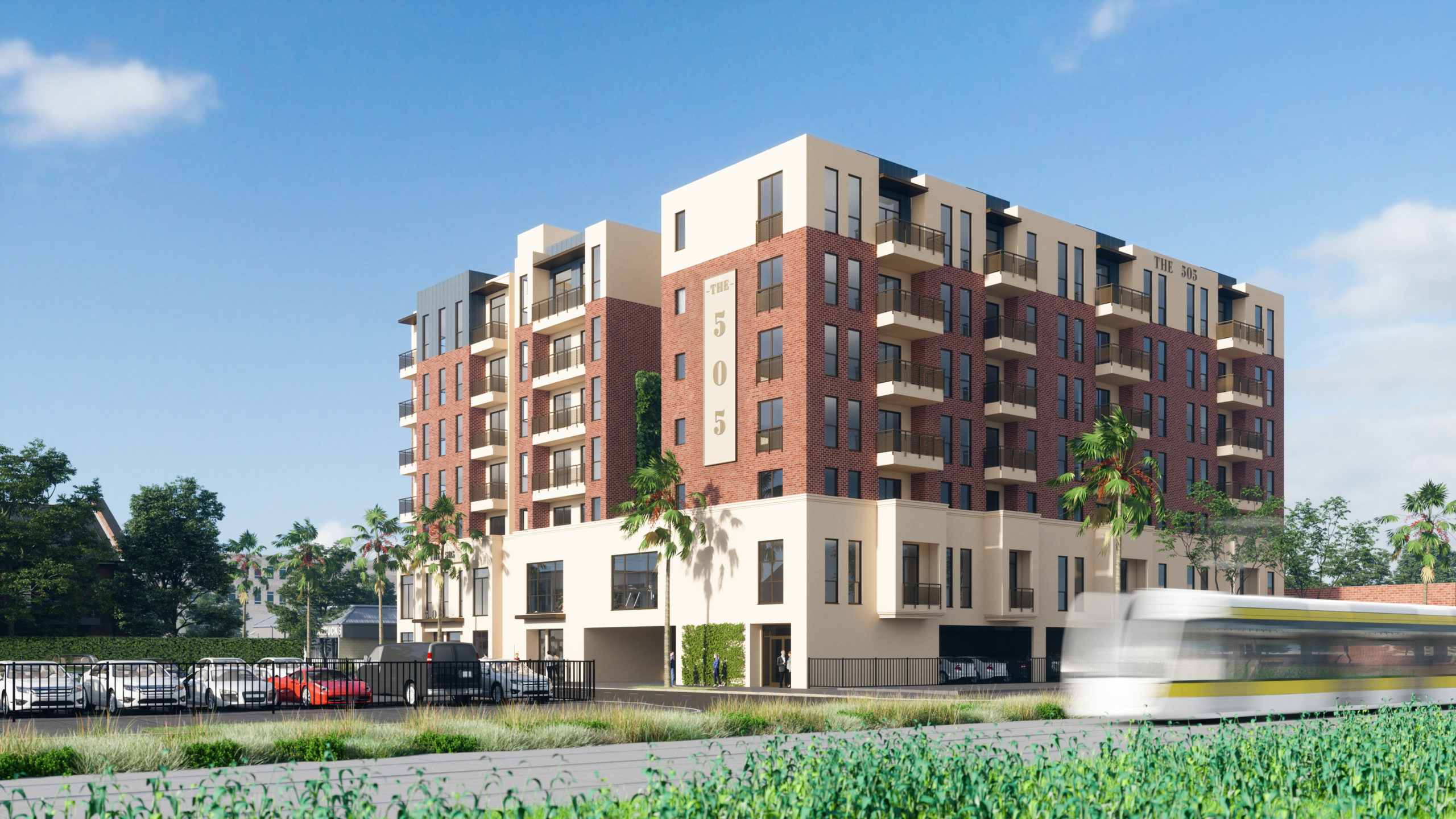 outdoor rendering of apartment complex with parking, bullet train, and garden area