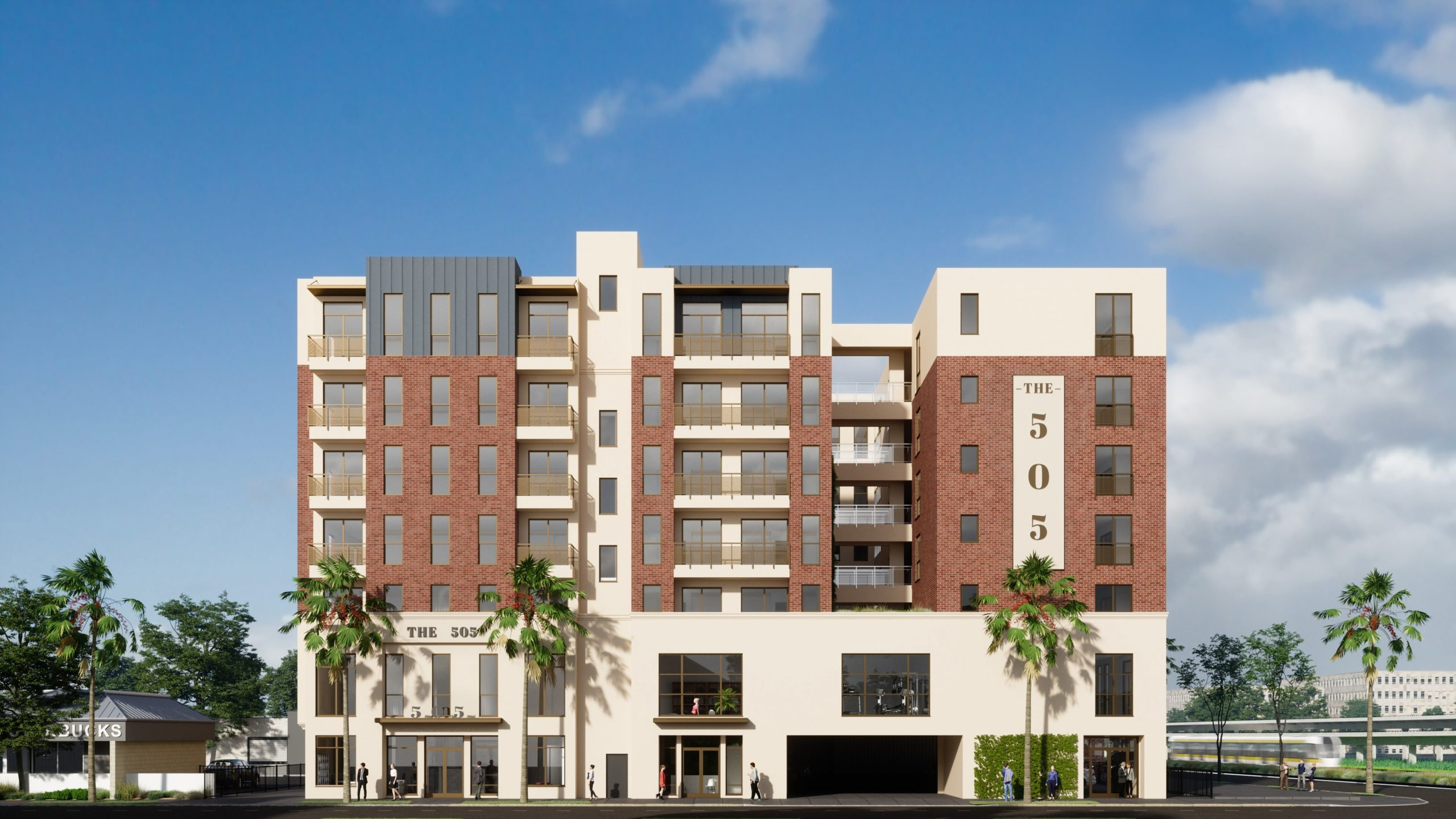 outdoor rendering of apartment complex with bullet train, and tropical landscaping
