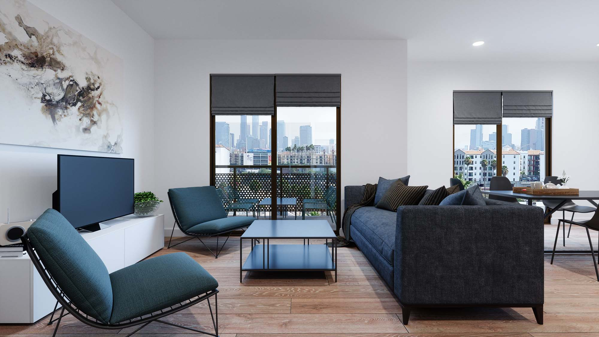 living room with wood-style floors, couch and lounge seating, tv, windows, and balcony access