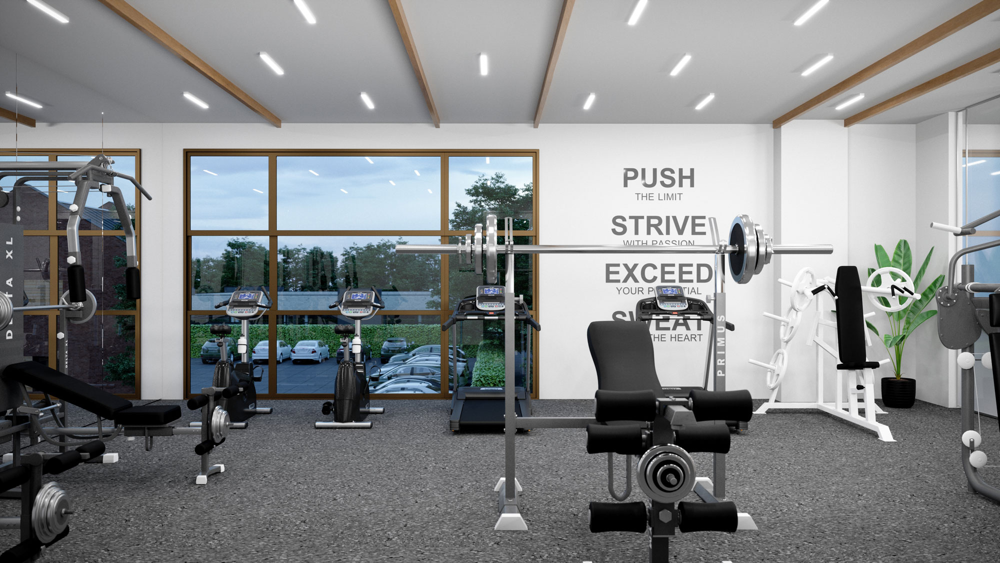 indoor gym area with lifting machines, workout machines, tvs, water fountain, and weights