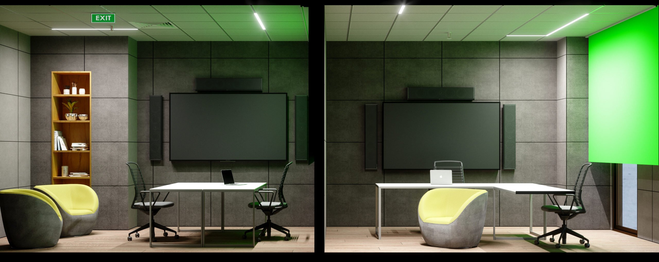meeting rooms with green screens, tvs for presentations, seating, and desks