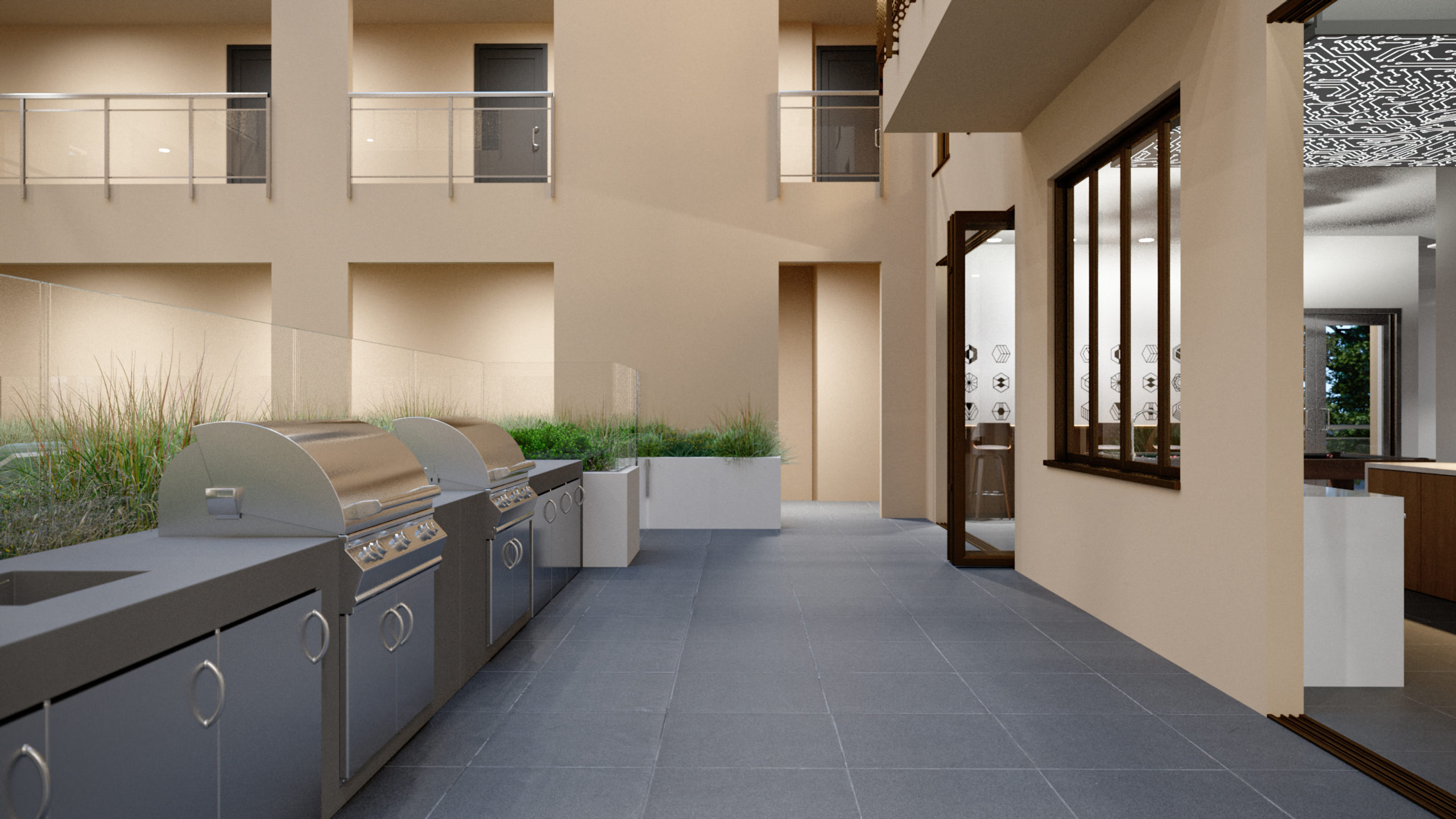 outdoor patio area with shading and grills for cooking, stainless steel appliances, and sinks